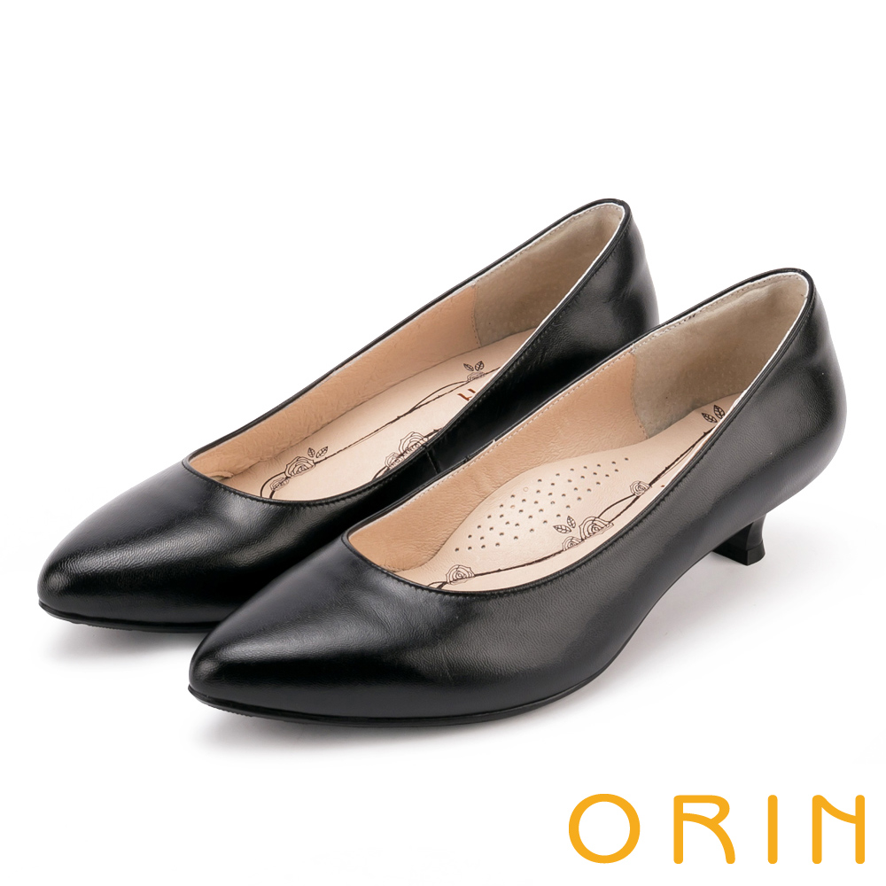 ORIN 簡約時尚OL 羊皮素面百搭尖頭跟鞋-黑色