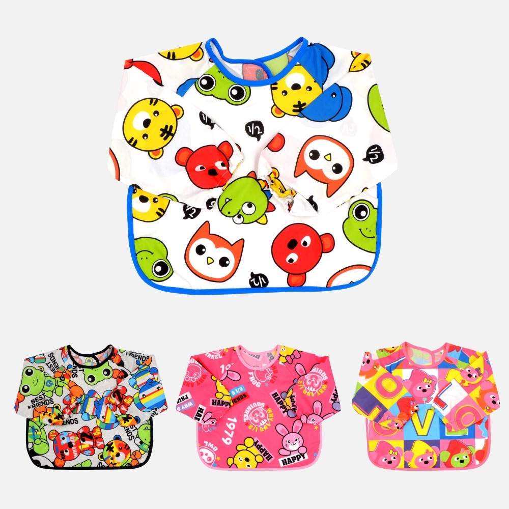 WHY AND 1/2 mini 食物接槽防潑水長袖圍兜 多色可選