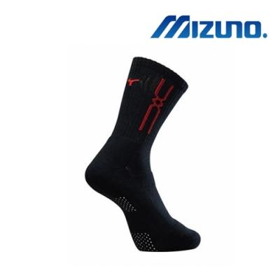 Mizuno美津濃 男運動厚底襪 (6雙入) 黑x紅 32TX90G896Q