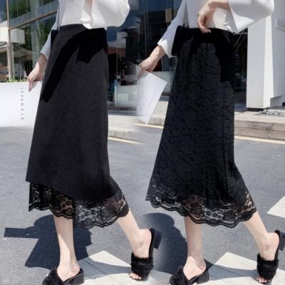 La Belleza鬆緊腰兩面穿拼接蕾絲刻花針織裙中長裙
