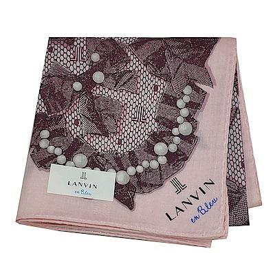 LANVIN en Bleu 優雅珍珠蝴蝶結圖騰字母LOGO帕領巾(粉紅系)