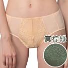 思薇爾 奧羅拉系列M-XXL蕾絲中腰三角內褲(莫棕綠)