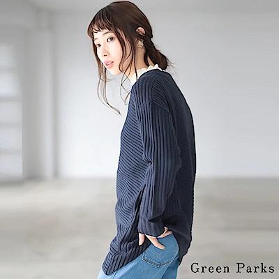Green Parks 不對稱下擺羅紋拼接針織上衣