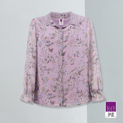 ILEY伊蕾 亮麗花草蕾絲雪紡襯衫(紫/水)