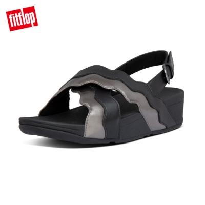 FitFlop RHYLEE WAVE STRAP BACK-STRAP SANDALS後帶涼鞋-女(黑/銀色)