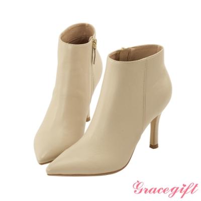 Grace gift X Kerina-聯名素色尖頭細跟靴 杏