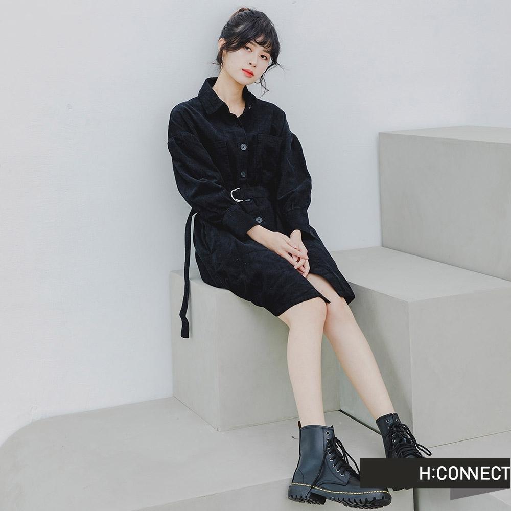 H:CONNECT 韓國品牌 女裝 -燈芯絨排釦腰帶襯衫洋裝