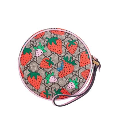 【時時樂】GUCCI 新款可愛GG Supreme 草莓印花圓餅手拿包