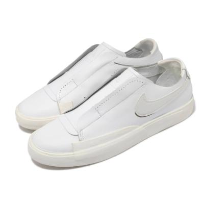 Nike 休閒鞋 Blazer Slip 運動 女鞋 基本款 簡約 套腳 舒適 皮革 質感 米白 白 CJ1651100