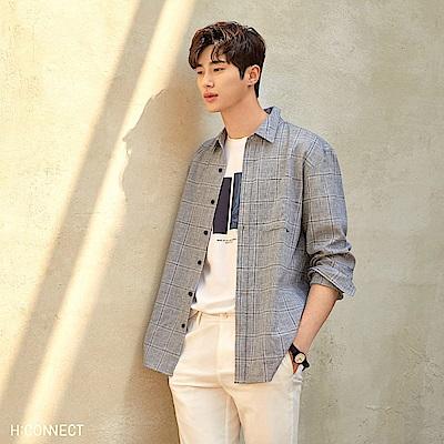 H:CONNECT 韓國品牌 男裝-色塊造型圓領T-shirt-白