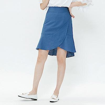 H:CONNECT 韓國品牌 女裝-交疊層次短裙-藍