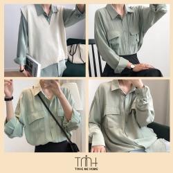 韓版垂墜感大口帶襯衫-TMH
