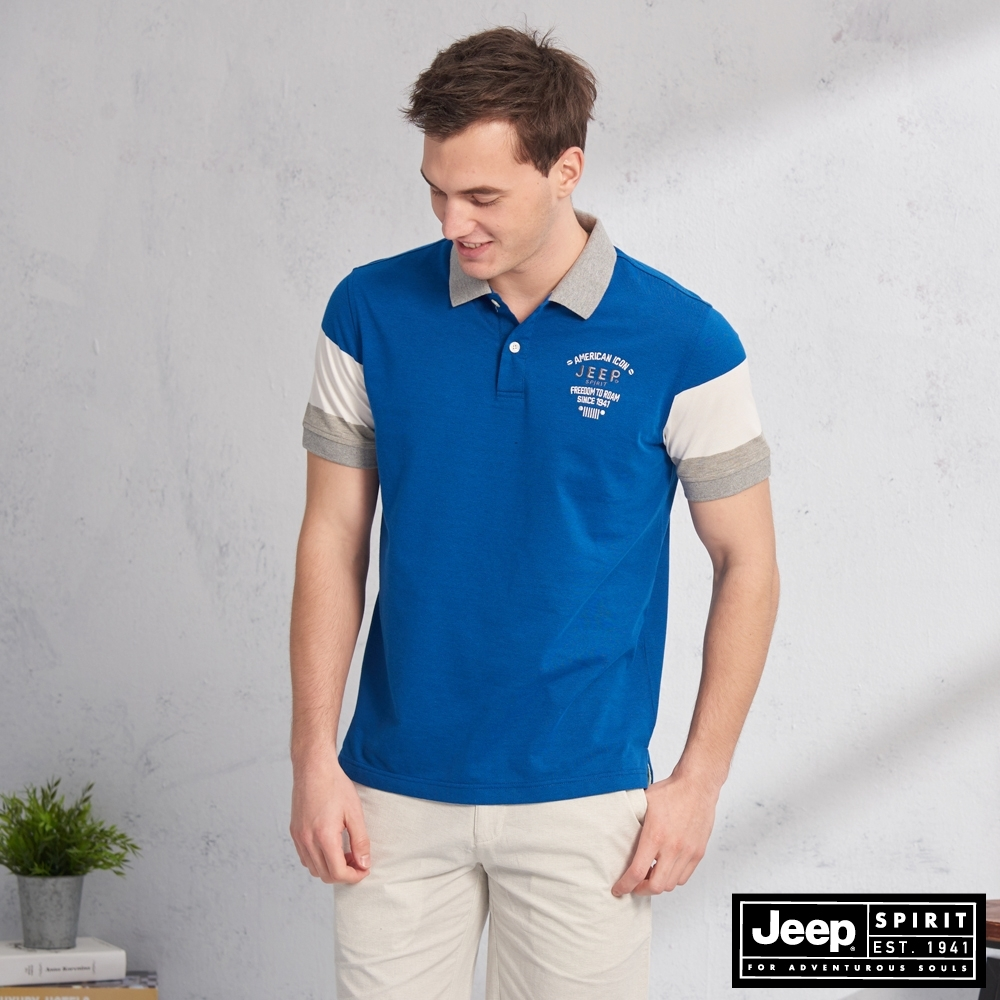 JEEP HiCool吸濕排汗撞色拼接短袖TEE-寶藍