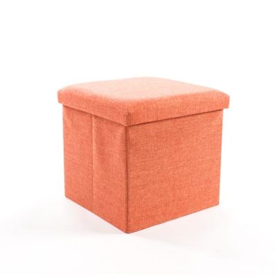 樂嫚妮 亞麻折疊收納椅凳/收納箱-38X38X38cm-橘