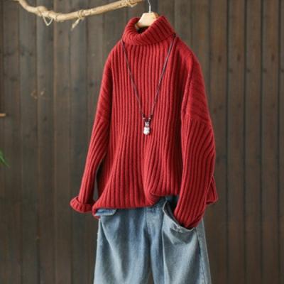 素色微彈坑條肌理高領毛衣寬鬆加厚內搭針織衫-設計所在