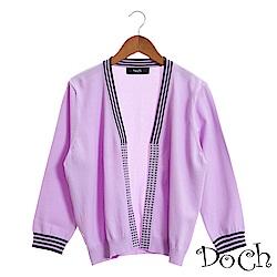 【Doch】特色條紋領針織罩衫(共三色)