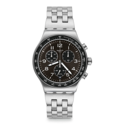Swatch 金屬系列手錶 DEEPGREY深灰情調 - 43mm