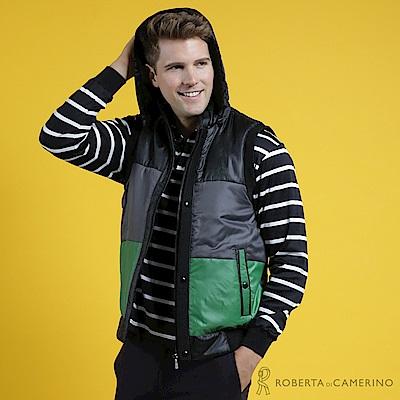 ROBERTA諾貝達 帥氣型男 內裡鋪棉 跳色無袖背心 黑綠