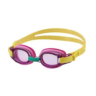 【SWANS 日本】專業光學兒童專用泳鏡 ( 防霧/抗UV/矽膠 SJ-8 紫/黃)