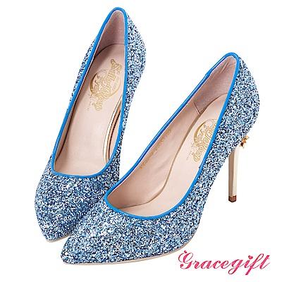 Grace gift-美少女戰士變身器碎石高跟鞋 藍