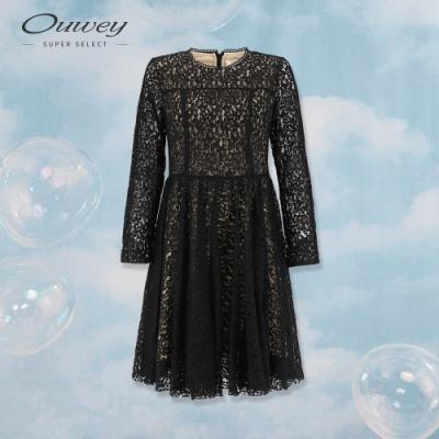OUWEY歐薇 縷空蕾絲浪漫圓展裙襬洋裝(黑)