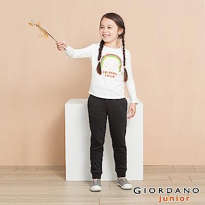 GIORDANO 童裝棉質鬆緊抽繩休閒束口褲-03 標誌黑