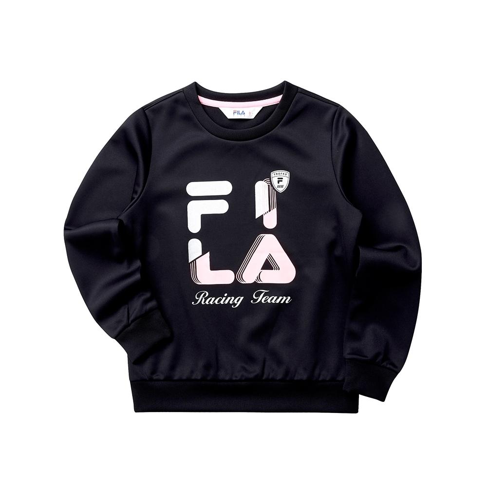 FILA KIDS 童長袖針織圓領T恤-黑色 5TET-8408-BK