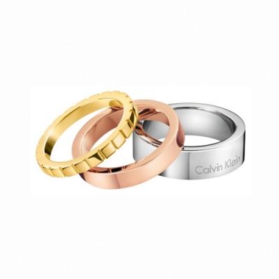 CALVIN KLEIN Wonder 系列三環三色個性美時尚戒指-6