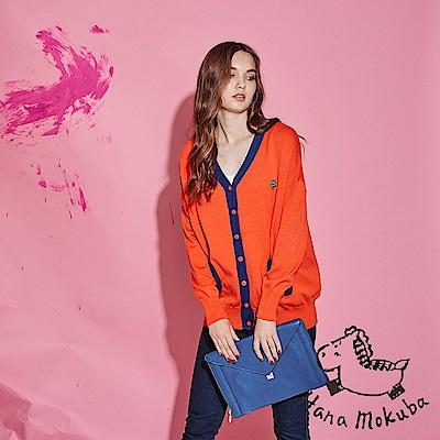 Hana+花木馬 輕時尚撞色拼接棉製長袖針織必備外套-橘(共2色)