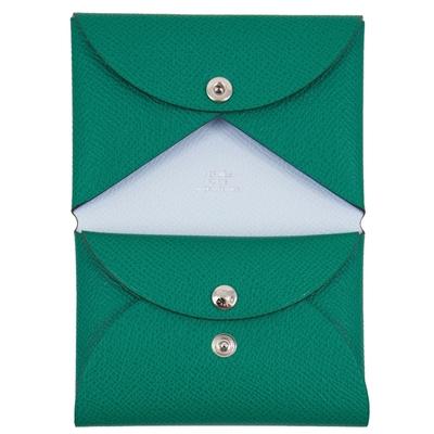 Hermes Calvi Duo 卡片夾/零錢包 (碧玉綠 Vert Jade x 藍霧 Bleu Brume) Epsom