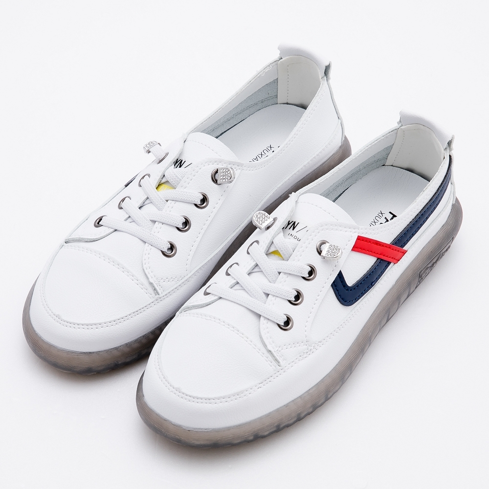 River&Moon韓式真皮牛筋軟底小白鞋 白藍
