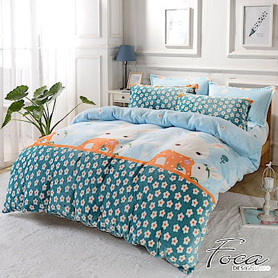 FOCA甜心兔寶寶   雙人舖棉床包-極緻保暖法萊絨四件式兩用毯被套厚包組