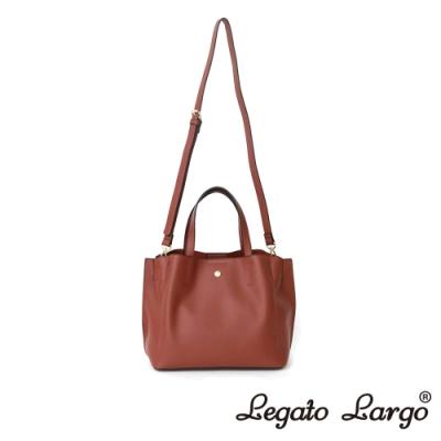 Legato Largo 驚異的輕量化 小法式輕便簡約 手提斜背兩用包 紅棕色