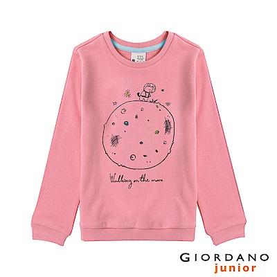 GIORDANO 童裝趣味塗鴉印花長袖T恤-01 牡丹紅