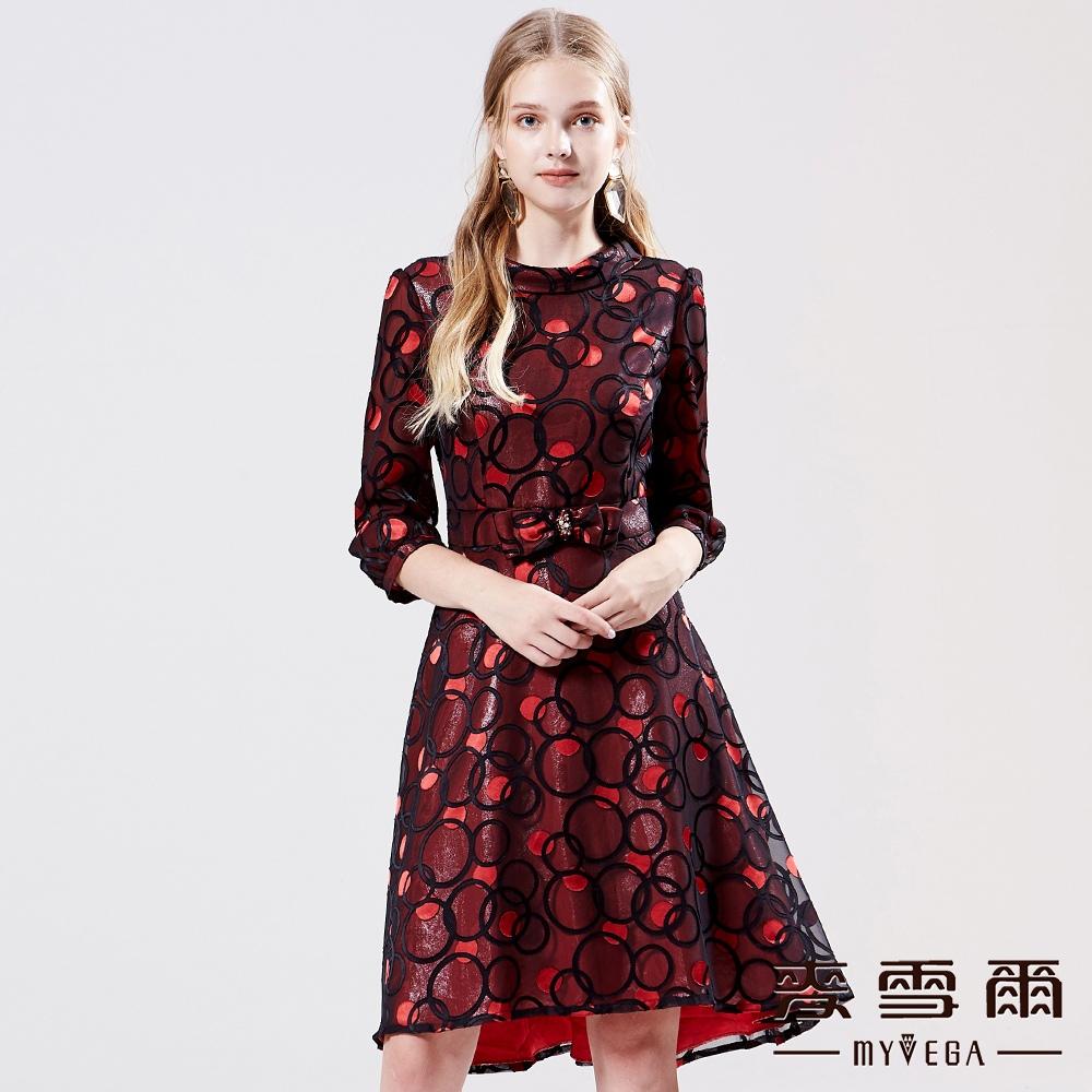 【麥雪爾】滿版幾何印花網紗洋裝