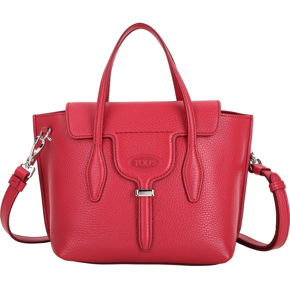 TOD'S Joy Bag T釦牛皮手提肩背托特包(紅色)