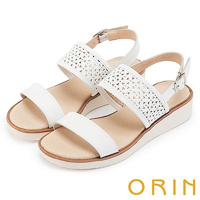 ORIN 夏日渡假 造型簍空牛皮厚底涼鞋-白色