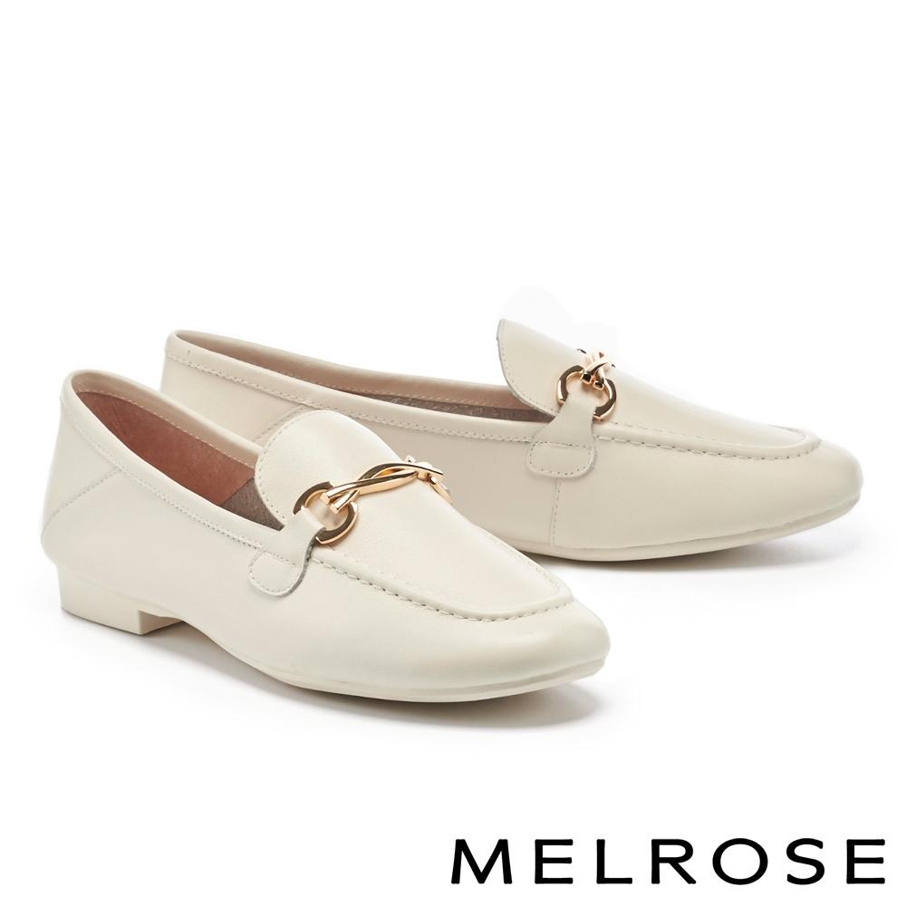 低跟鞋 MELROSE 簡約質感金屬飾釦牛皮樂福低跟鞋-米