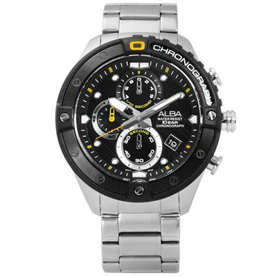 ALBA 礦石強化玻璃三眼計時日期防水不鏽鋼手錶-黑色/46mm
