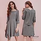 OUWEY歐薇 學院極簡後活片格紋七分袖方領不對稱裙擺洋裝(灰)