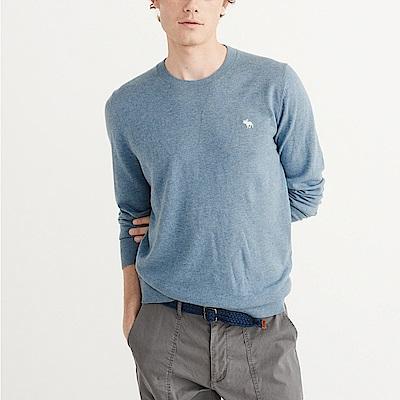 麋鹿 AF A&F 經典標誌刺繡麋鹿保暖毛衣-藍色