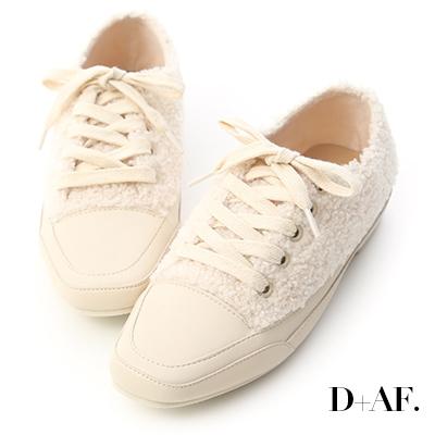 D+AF 小熊寶貝.泰迪熊毛毛方頭休閒鞋*米