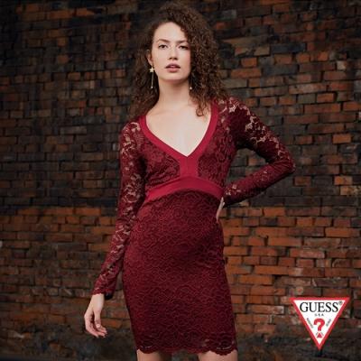 GUESS-女裝-修身剪裁蕾絲V領洋裝-紅