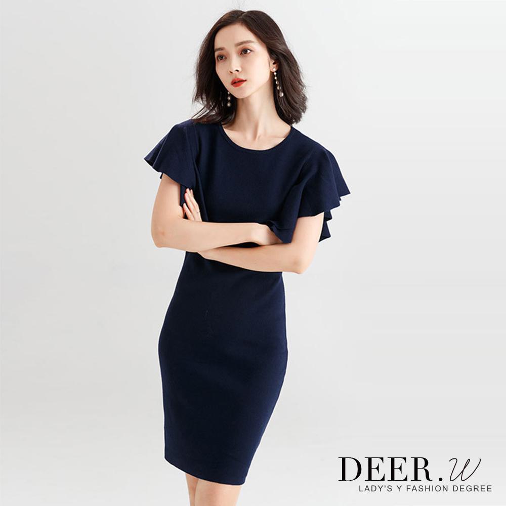 DEER.W 立體荷葉袖修身針織洋裝(藍色)