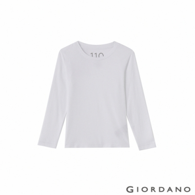 GIORDANO  童裝G-Warmer彈力圓領極暖衣 - 01 標誌白