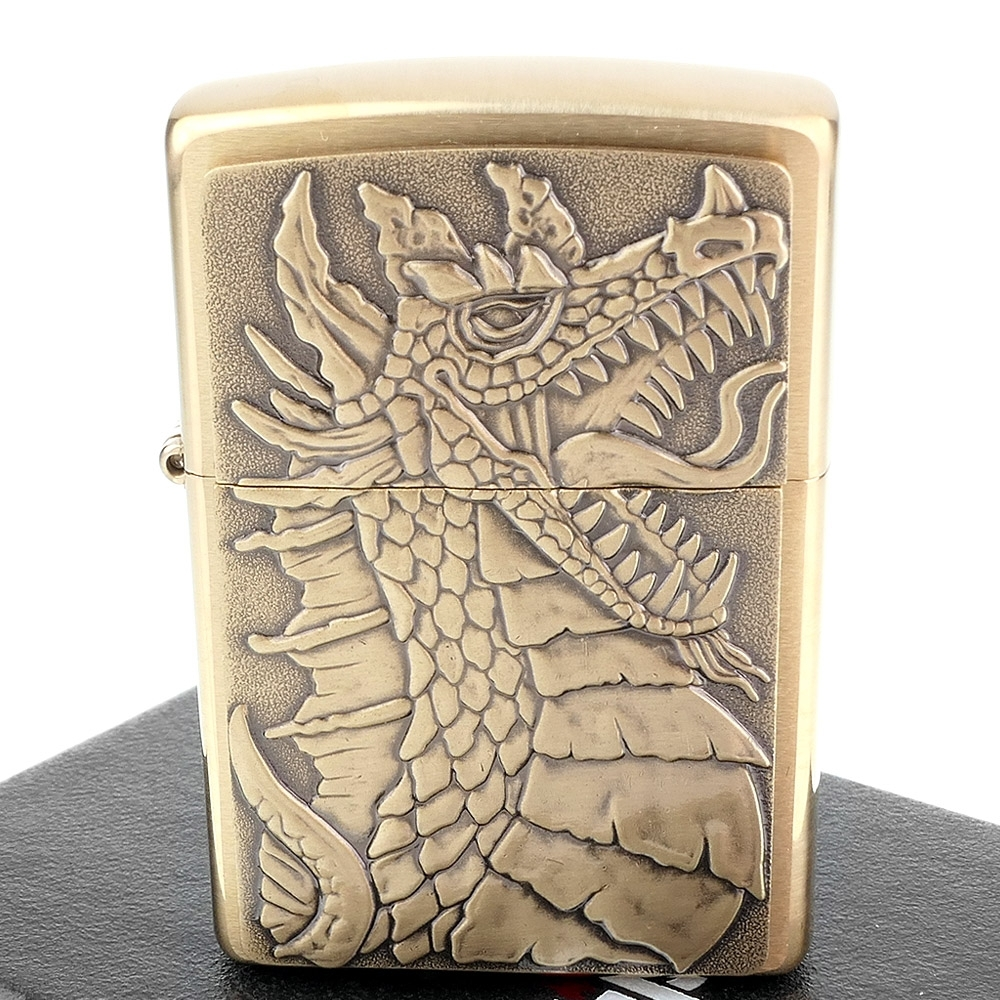 ZIPPO 美系~Dragon-西方龍立體圖案貼飾打火機