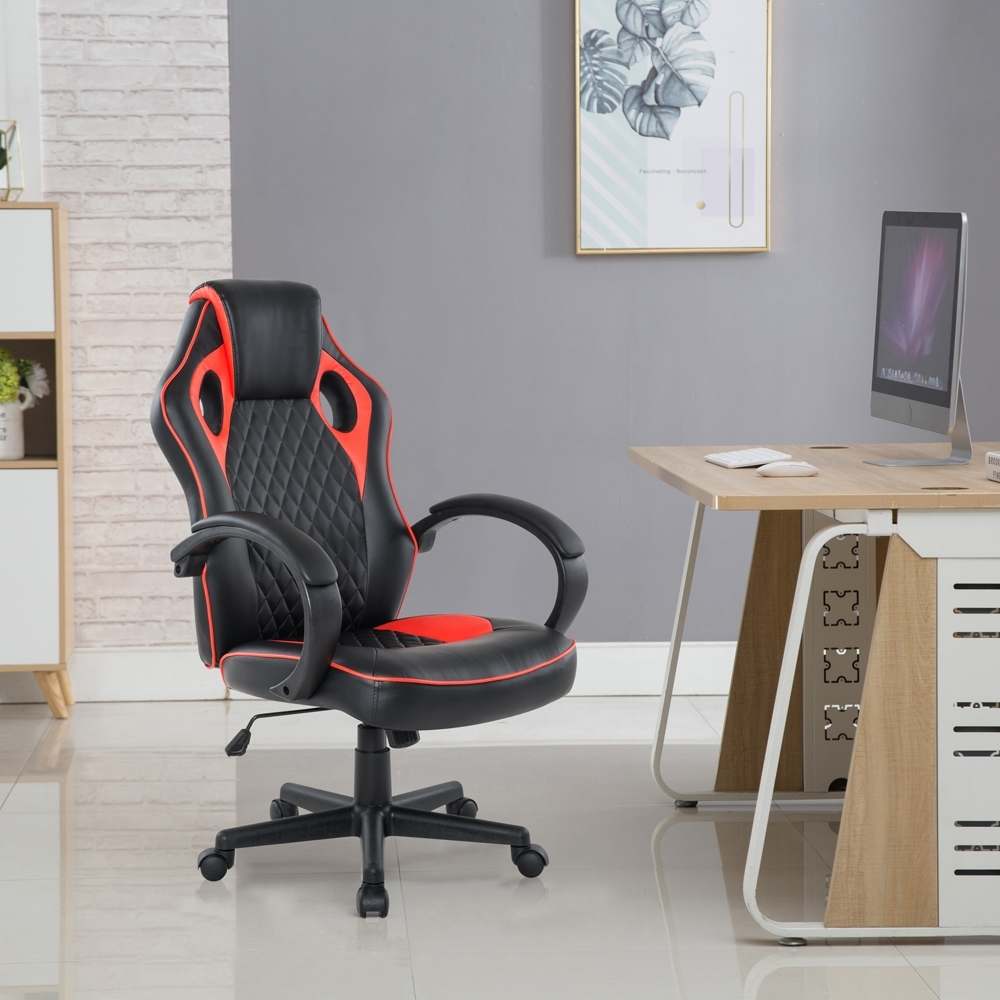 E-home Grandiose雄圖賽車型電競椅-EGS002-紅色