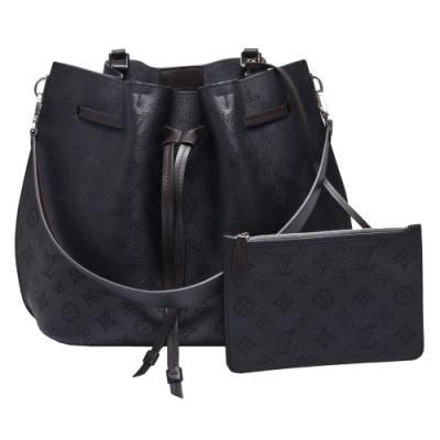 LV M54402 GIROLATA系列Mahina皮革束口手提/肩背水桶包(黑色)