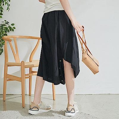 慢 生活 設計師解構式棉麻長裙- 黑/綠