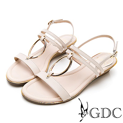 GDC-歐美真皮金屬圓圈楔型一字涼鞋-米色